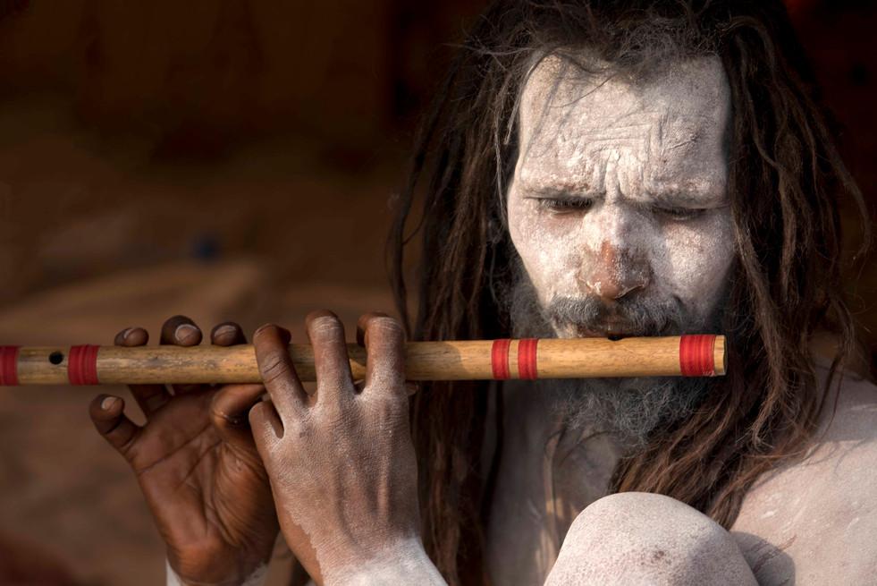Naga Sadhu and his flute