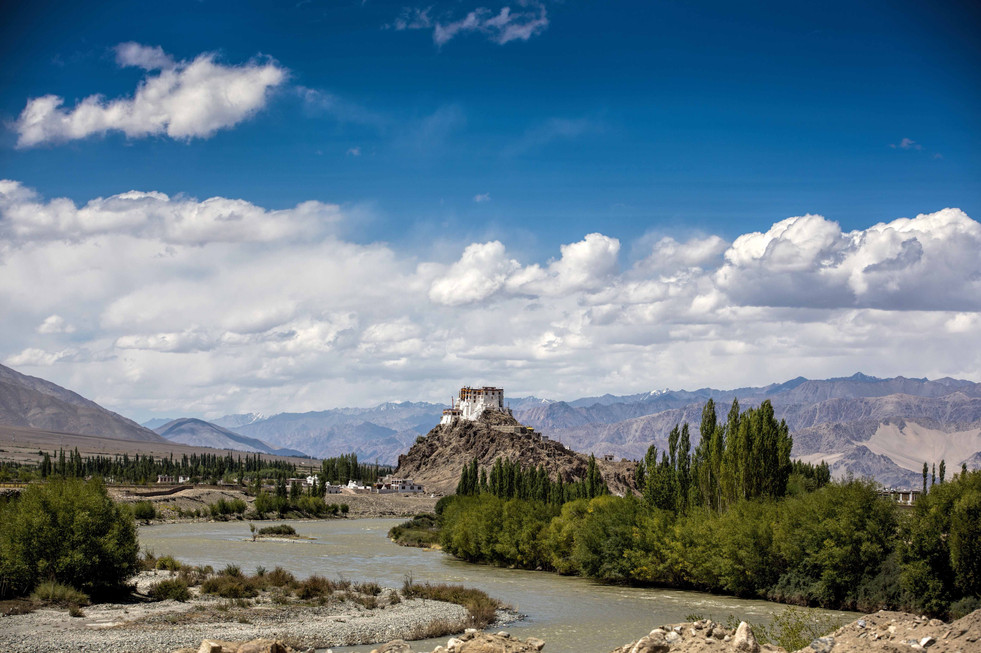 Meandering Indus and Stakna Monastery