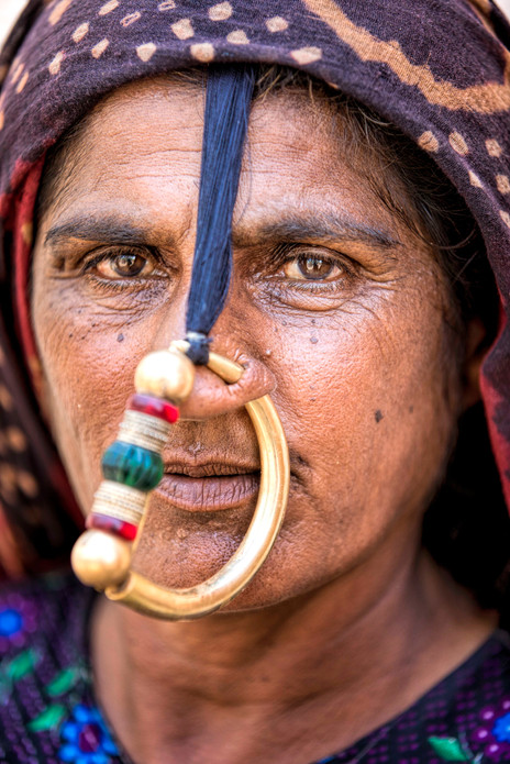 Dhaneta jat woman in her traditional nose ring