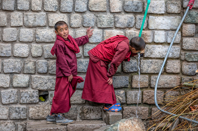 The novice monks are as playful as any other children their age