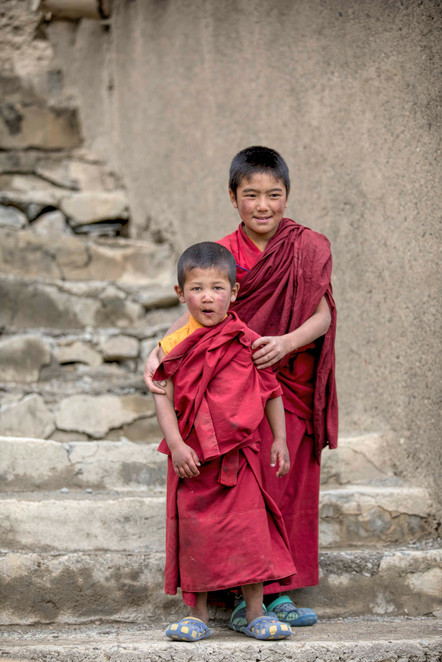 Two young monks at the school