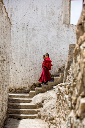 Two young monks engaged in conversation