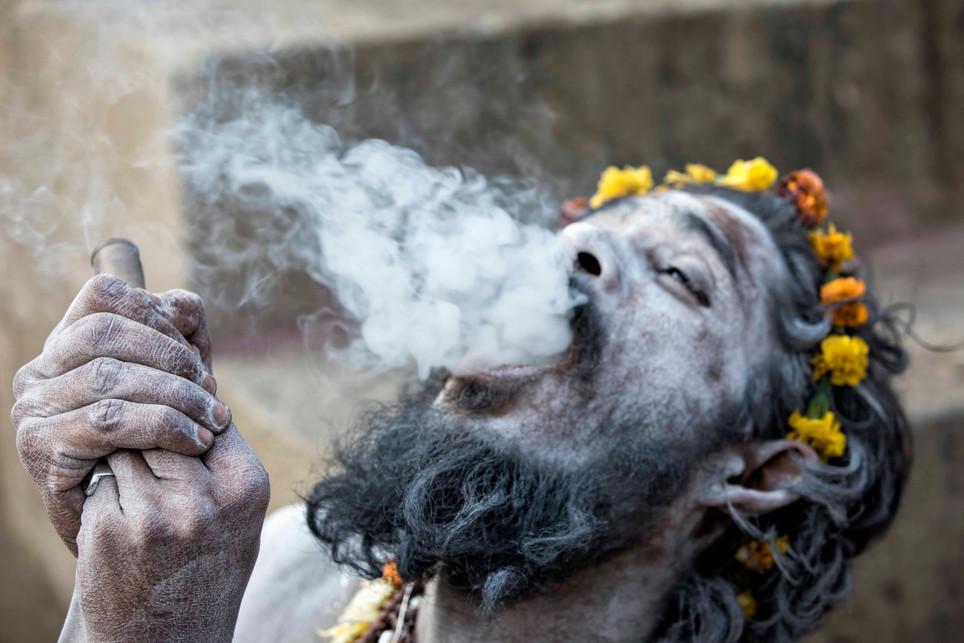 Naga Sadhus and the smoke cloud