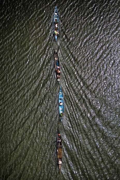Four is a Team, Vembanad backwater near Alleppey, Kerala