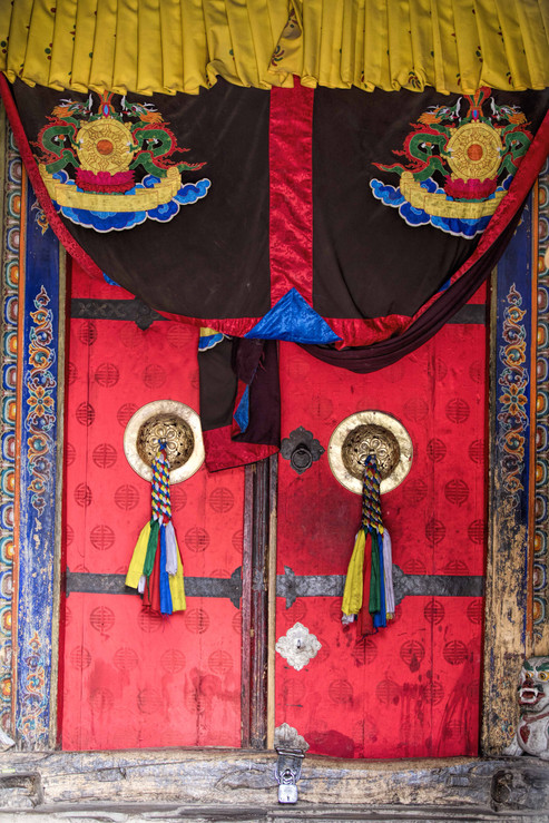 Traditional Tibetian door at the Phayang Monastery