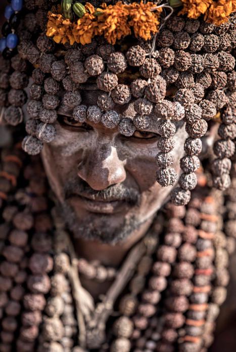 Naga Sadhu clad in rosary beads