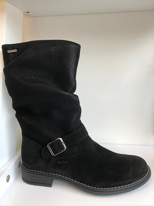 Richter Waterproof Mid-calf Slouch Boot (black suede/textile)