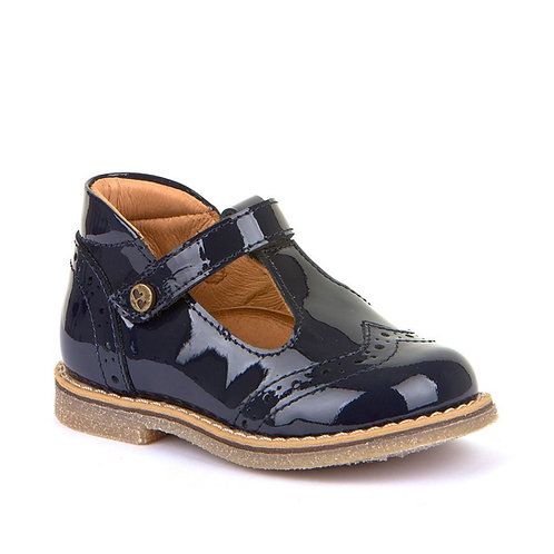 Froddo T-bar shoe with brogue detail (navy patent)