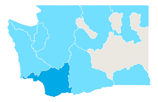 Map of Salmon Recovery Regions in Washington State. The Lower Columbia Recovery Region is highlighted.