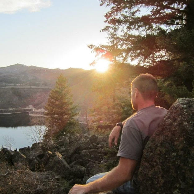 One handsome guy gazing out at Anderson Reservoir