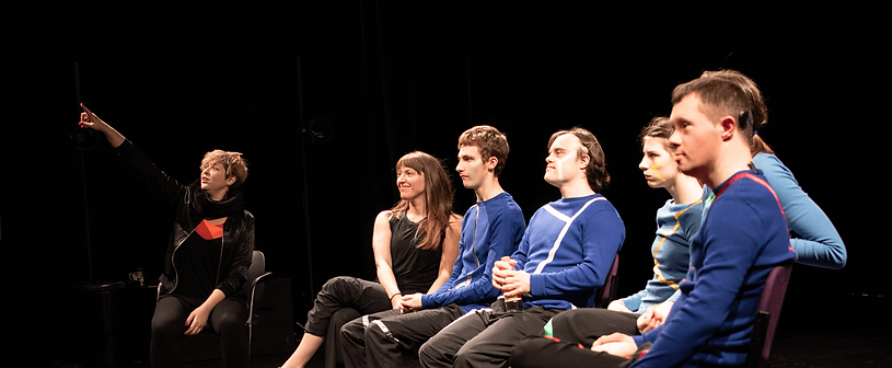 ConfiCo looking to audience, in a post-show Q&A at Quarterhouse, Folkestone, 2019