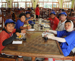 Campers enjoy a meal at CAFA camp