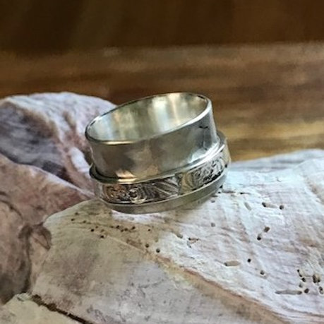Sterling Silver Spinner Ring with Brushed Finish Band