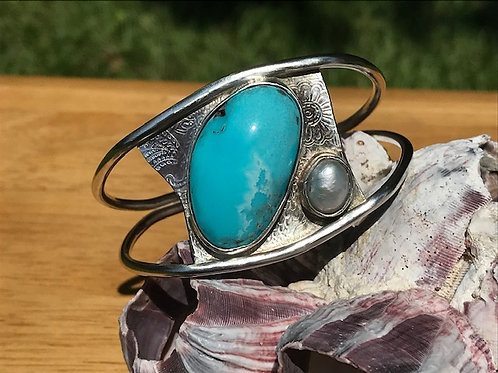 Kingman Turquoise Cuff Bracelet with Freshwater Pearl