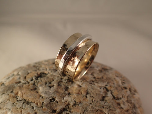 Men's Gold Spinner Ring with Sterling Silver Spinner Band
