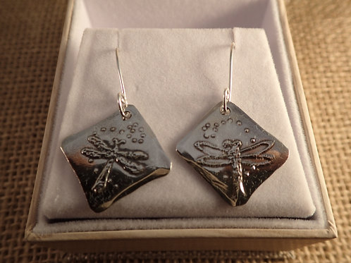 Etched Sterling Silver Dragonfly Earrings