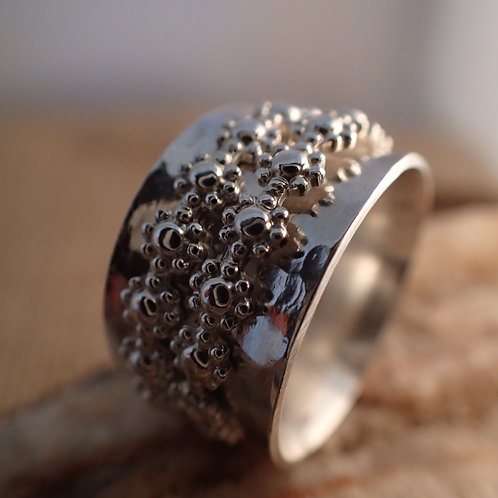 Sterling Silver Spinner Ring with Double Flower Spinner Bands