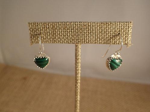 Malachite Heart Earrings