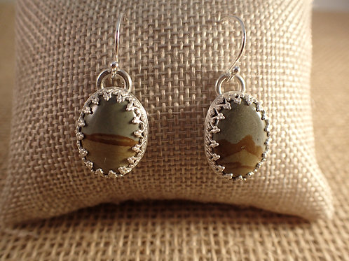 Picture Jasper Oval Earrings
