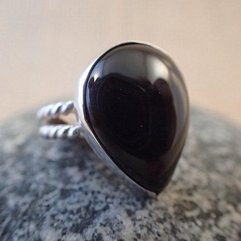 Black Onyx Tear Drop Ring