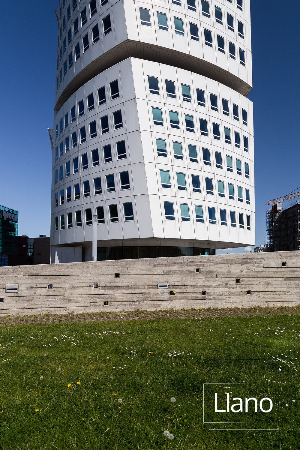 View of a section of Turning torso building