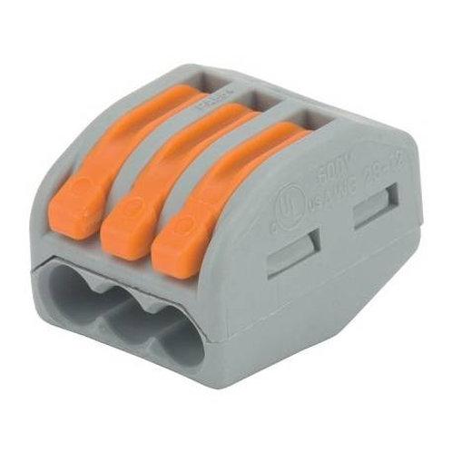 WAGO Borne de connexion 3 x 0,08-4 mm² fils souple ou rigide / Gris