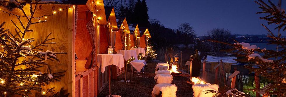 Seehotel Kastanienbaum Holzhüttli im Winter