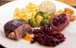 Menü mit Gans und Beilagen im Restaurant Träumli in Seelisberg