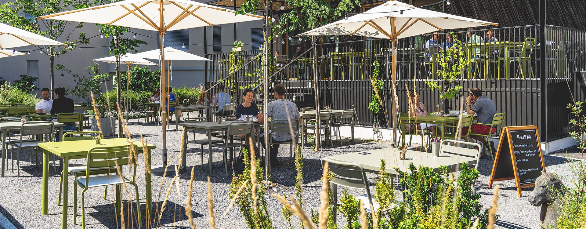 Terrasse des Restaurants Rössli Hü in Root