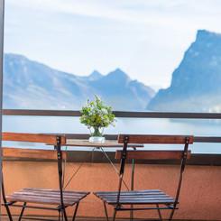 Balkon mit Aussicht im Seehotel Kastanienbaum