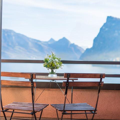 Aussicht vom Balkon im Seehotel Kastanienbaum