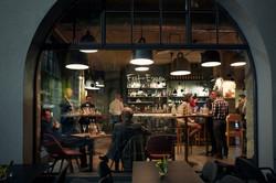 Blick durchs Fenster ins Restaurant Zur Werkstatt Luzern
