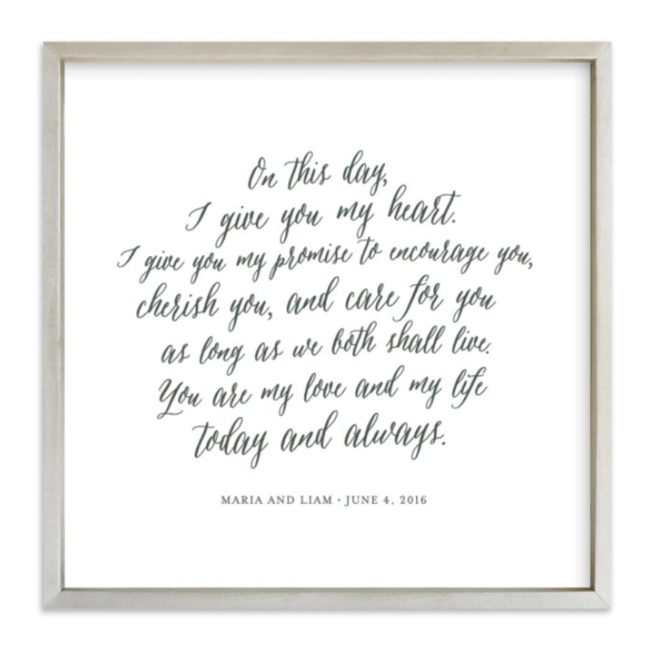 Your Vows as an Art Print - Starts at $36.00