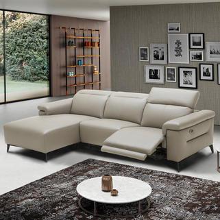 GRAYSON全皮L型電動沙發