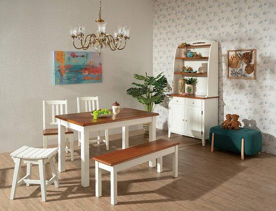 蒂芬妮系列-餐桌組(含1桌2椅1板條)