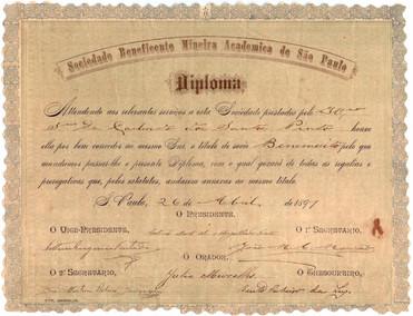 Diploma Academia Beneficente Mineira de São Paulo - 1891