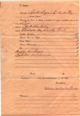 Documentos da Escolinha do Cipó - 1925