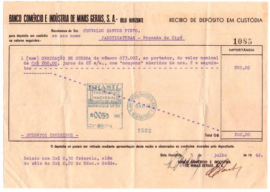recibo de Deposito de Custódia - 1944