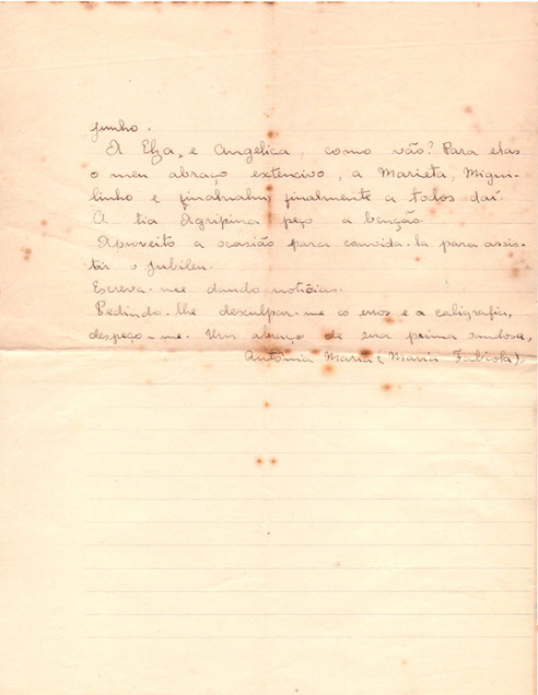 Carta de Maria Fabíola Sinhá