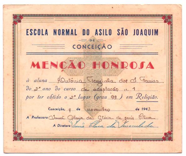 Menção Honrosa D. Antônia - 1943