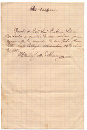 Recibo do Pe Candido - 1887