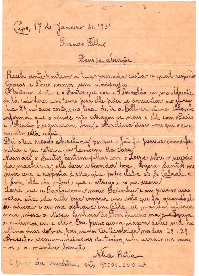 carta Nhá Rita ao filho 17/01/1934