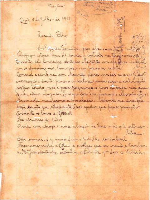 Carta Nha Rita ao Filho - 1917