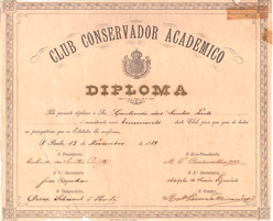 Diploma socio honorario de Carlindo dos Santos Pinto - 1889