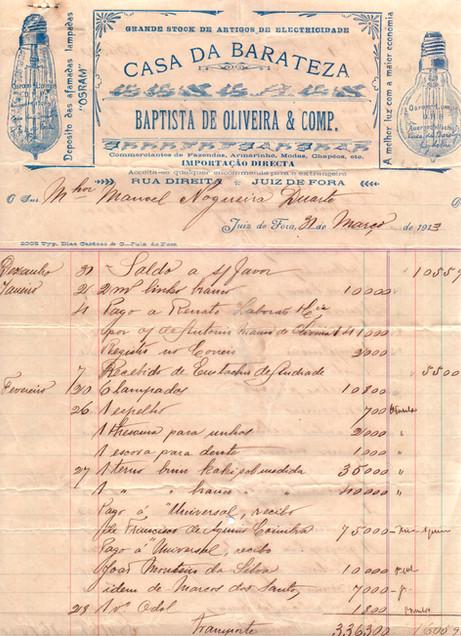recibo de compra - 1913