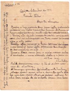 Carta Nhá Rita a Filho - 1931