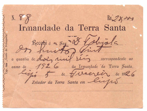 recibo Irmandade Terra Santa - 1926