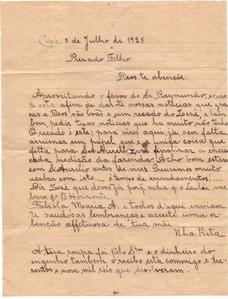 Carta Nha Rita ao Filho - 1925