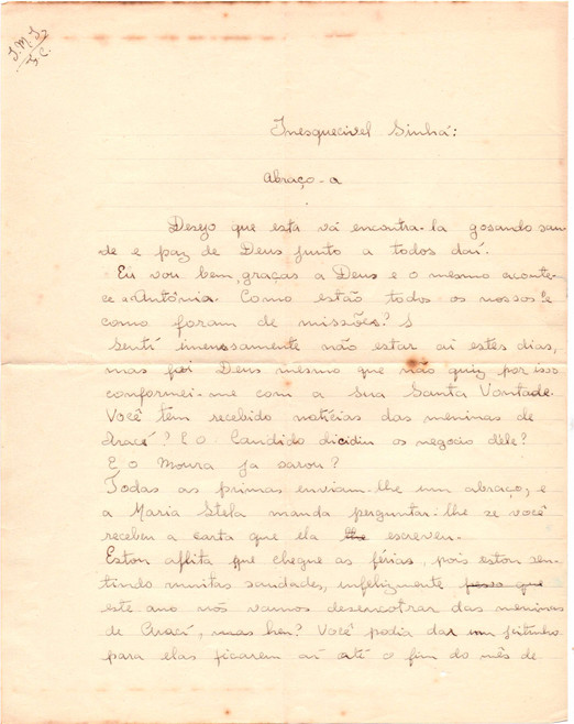 Carta de Maria Fabíola - Sinhá