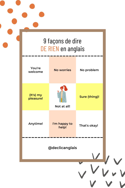 9 façons de dire de rien en anglais